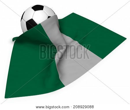 soccer ball and flag of nigeria - 3d rendering
