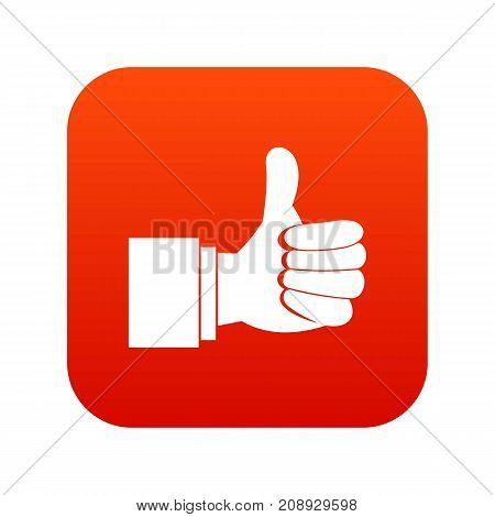 Thumb up gesture icon digital red for any design isolated on white vector illustration
