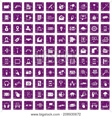 100 mobile icons set in grunge style purple color isolated on white background vector illustration
