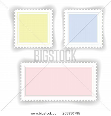 colorful postage stamps set isolated on white background