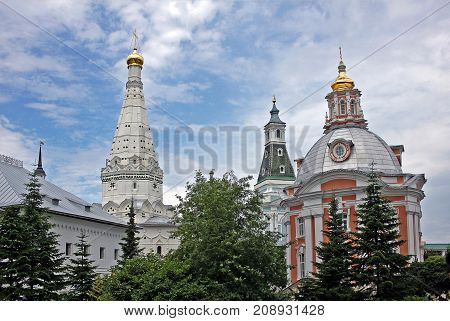 Sergiyev Posad Russia - 15 July 2017: Churches of the Holy Trinity Lavra of St. Sergius. The monastery was founded in 1337 by one of the most venerated Russian saints Sergius of Radonezh