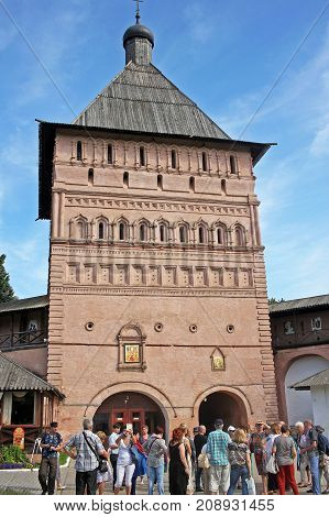 Suzdal Russia - 16 July 2017: Monastery of Saint Euthymius. Entrance tower of the monastery height of 22 m built of red brick