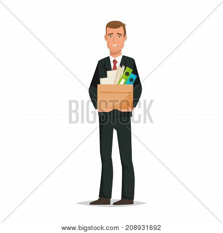 Businessman working cartoon character person in different situations. Man, an office worker in office clothes, holding box with documents and accessories, dismissal from work. Vector illustration.