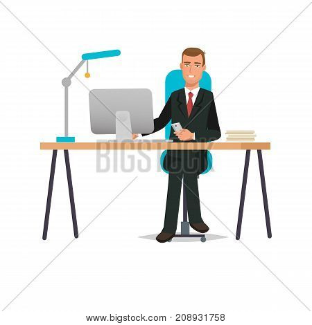 Businessman working cartoon character person in office work situations. Man, office worker, in office at desk, near computer in the office table. Interior rooms, working tools. Vector illustration.