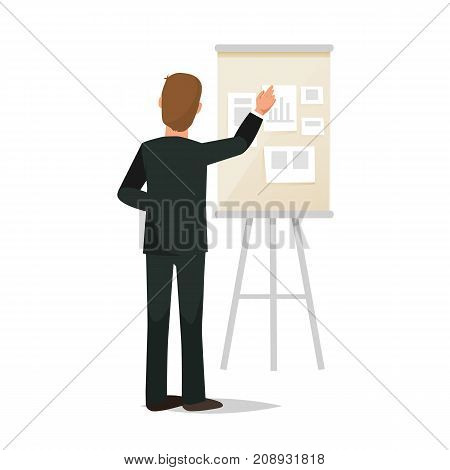 Businessman working cartoon character person in different situations. Man, office worker in office clothes, conducts conference, seminar, business training, research. Back view. Vector illustration.