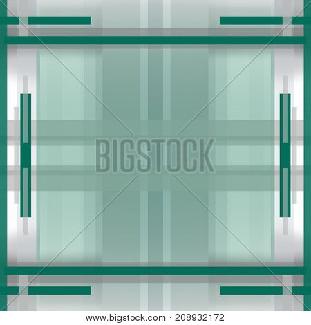 Symmetric geometric background. Square layout with abstract pattern with gray and green strips. Template with big transparent text box in the centre