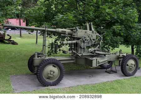 Moscow Russia - July 19 2017: 40-mm Anti-aircraft automatic cannon Bofors sample 36(Poland) on grounds of weaponry exhibition in Victory Park at Poklonnaya Hill.