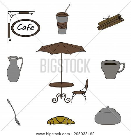 Coffee set kitchenware, objects, isolated on white background