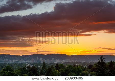 Colorful sunset over city of Portland Oregon downtown skyline panoramic view