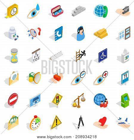 Eyedrop icons set. Isometric style of 36 eyedrop vector icons for web isolated on white background