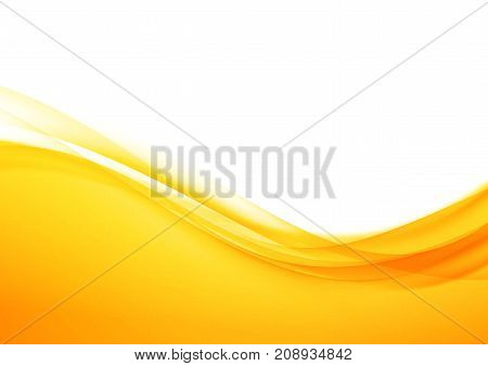 Bright orange abstract modern swoosh elegant soft wave background. Speed wind swoosh transparent futuristic border lines. Vector illustration
