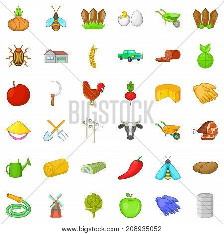 Hard farming icons set. Cartoon style of 36 hard farming vector icons for web isolated on white background