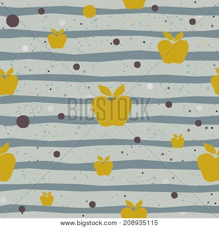 Cute Seamless Background with hearts and blue stripes on pastel beige background with tiny dots. Vector Illustration.