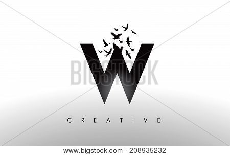 W Logo Letter With Flock Of Birds Flying And Disintegrating From The Letter.