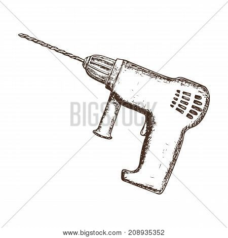 Drill on white background, cartoon illustration of repair tool. Vector