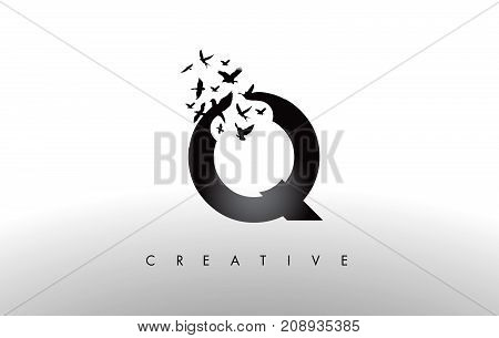 Q Logo Letter With Flock Of Birds Flying And Disintegrating From The Letter.