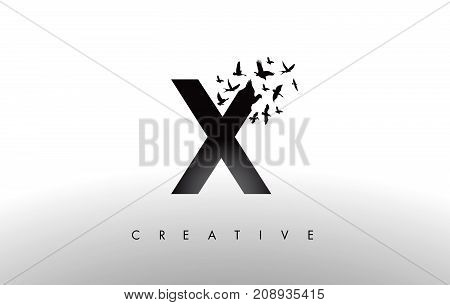 X Logo Letter With Flock Of Birds Flying And Disintegrating From The Letter.