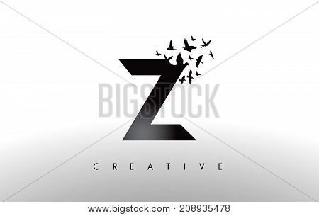 Z Logo Letter With Flock Of Birds Flying And Disintegrating From The Letter.