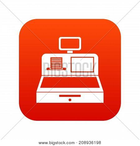 Cash register with cash drawer icon digital red for any design isolated on white vector illustration