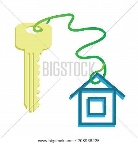 Yellow Key and Home Symbol Isolated on White Background