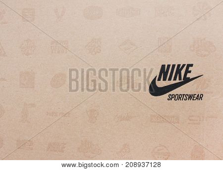 MOSCOW, RUSSIA - OCTOBER 9, 2017: Nike Shoes Original Box with Brand Logo.  Nike is an American corporation, world's largest supplier of athletic shoes and apparel, selling equipment and accessories.