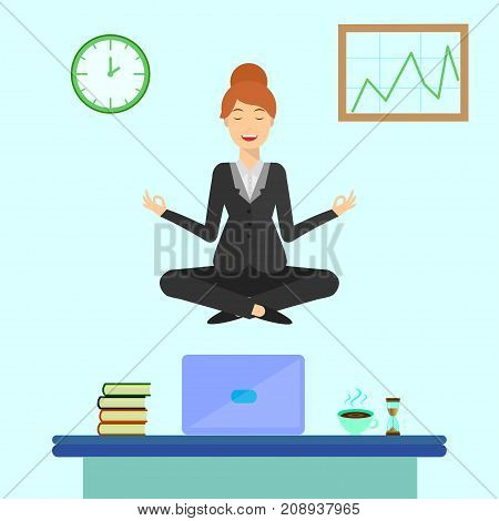 Yoga business woman meditating in lotus pose over table in office room. Young smiling woman doing yoga, get calm at workplace. Relax, meditation concept in flat design. Search solution, brainstorming
