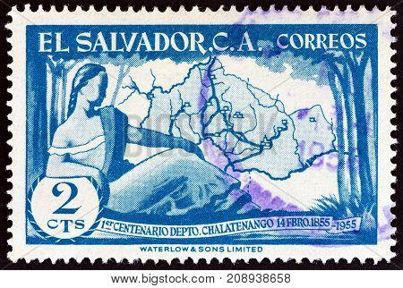 EL SALVADOR - CIRCA 1956: A stamp printed in El Salvador issued for the centenary of Chalatenango Province shows map, circa 1956.