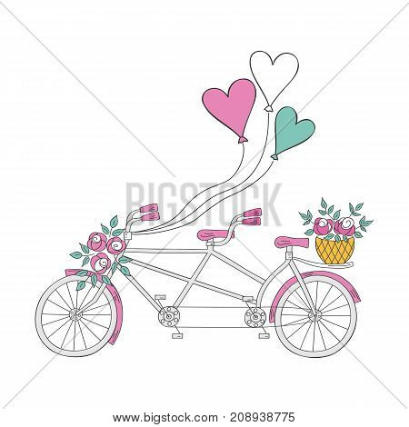Tandem bicycle with air balloons and flowers, hand drawn vector illustration isolated on white background. Wedding bike.