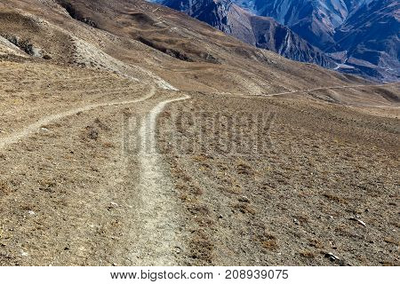 mountain road in the Himalayas, Annapurna Conservation Area Nepal