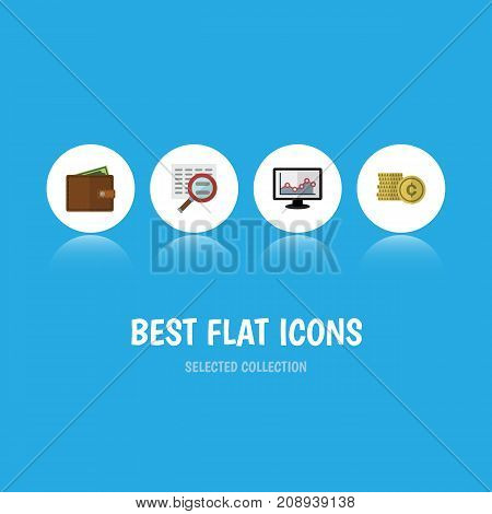 Flat Icon Gain Set Of Cash, Scan, Chart And Other Vector Objects