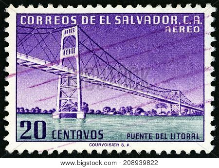 EL SALVADOR - CIRCA 1954: A stamp printed in El Salvador shows Litoral Bridge, circa 1954.