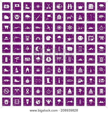 100 mountaineering icons set in grunge style purple color isolated on white background vector illustration