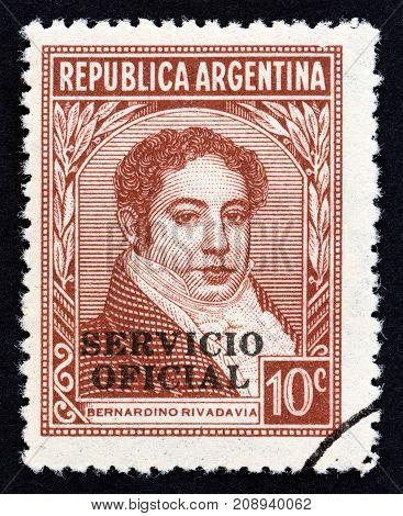 ARGENTINA - CIRCA 1945: A stamp printed in Argentina shows Bernardino Rivadavia, circa 1945.