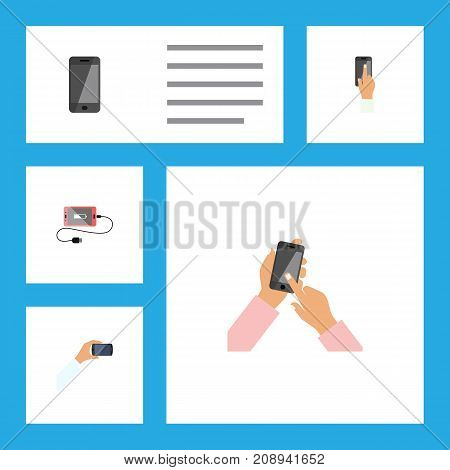 Flat Icon Touchscreen Set Of Telephone, Touchscreen And Other Vector Objects