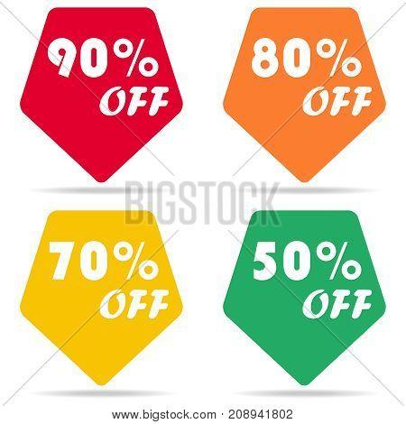 Discount sticker, discount offer price label. Flat design, vector illustration, vector.