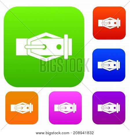 Leather belt set icon color in flat style isolated on white. Collection sings vector illustration