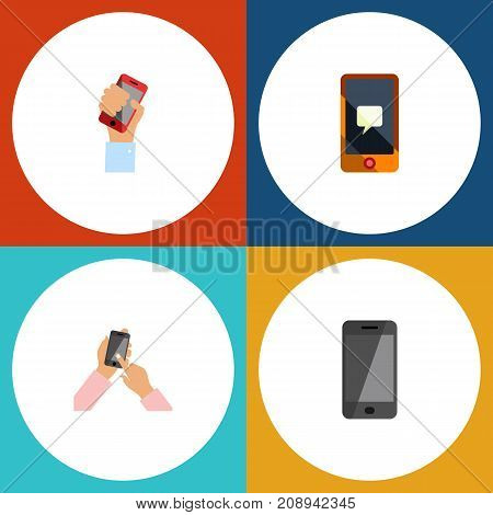 Flat Icon Touchscreen Set Of Interactive Display, Cellphone, Chatting And Other Vector Objects