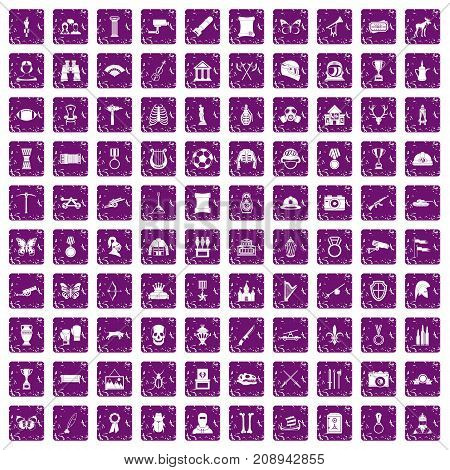 100 museum icons set in grunge style purple color isolated on white background vector illustration