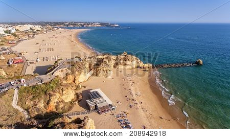 Aerial. Beach tres castelos, in Portimao, view from the sky