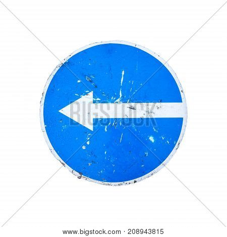 Go Left, Round Blue Road Sign Isolated