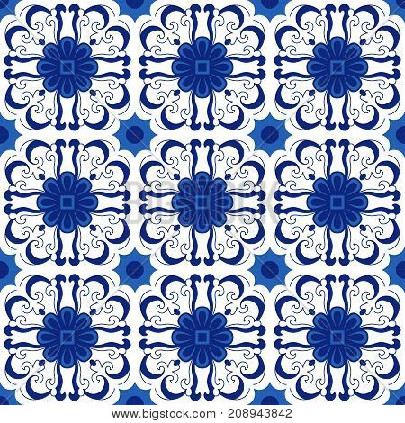 Ornamental pattern vector seamless blue and white color. Tile pattern - azulejo portuguese tiles celtic spanish moroccan talavera turkish or delft dutch tiles design with flowers motifs.