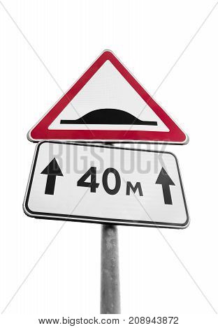 Speed Bump. Triangle Road Sign Isolated