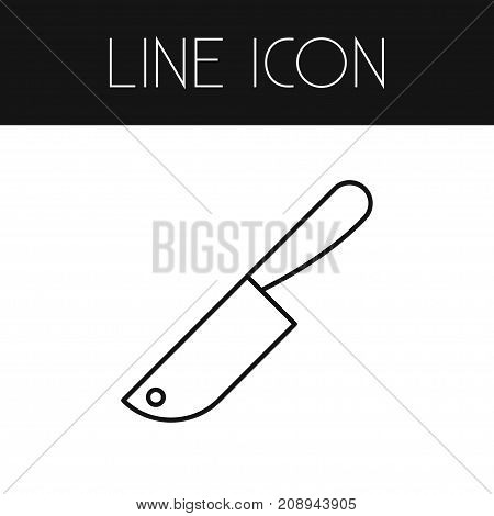 Meat Cleaver Vector Element Can Be Used For Knife, Meat, Cleaver Design Concept.  Isolated Knife Outline.