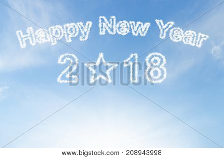 Happy new year 2018 cloud and sunshine on blue sky