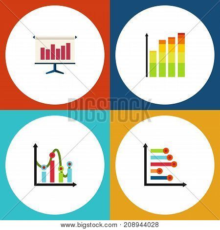 Flat Icon Graph Set Of Statistic, Graph, Chart And Other Vector Objects