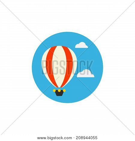 Vector icon of hot air balloon hovering in sky. Air travel, adventure, leisure. Tour planning concept. Can be used for topics like travel, transportation, entertainment