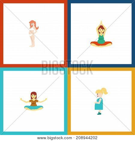 Flat Icon Pregnancy Set Of Yoga, Pregnancy, Pregnant Woman And Other Vector Objects