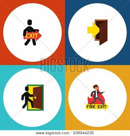 Flat Icon Exit Set Of Entry, Evacuation, Exit And Other Vector Objects
