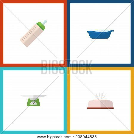 Flat Icon Infant Set Of Bathtub, Feeder, Tissue And Other Vector Objects