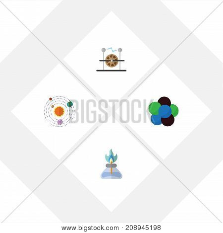 Flat Icon Knowledge Set Of Milky Way, Flame, Electrical Engine And Other Vector Objects
